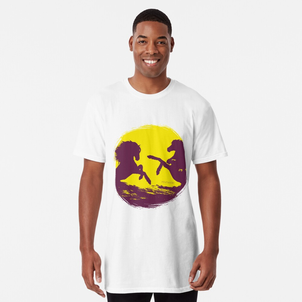 Horse riding sunset (colored) Long T-Shirt