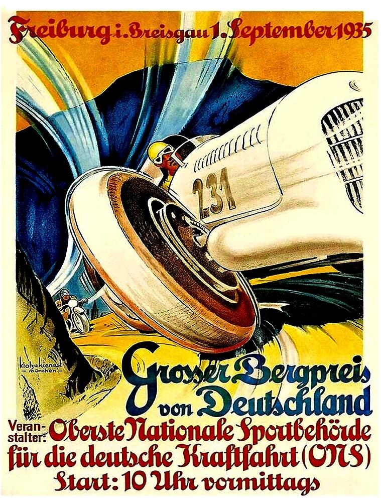 FREIBURG: Großer Preis von 1935 Deutschland Auto Racing Print von posterbobs