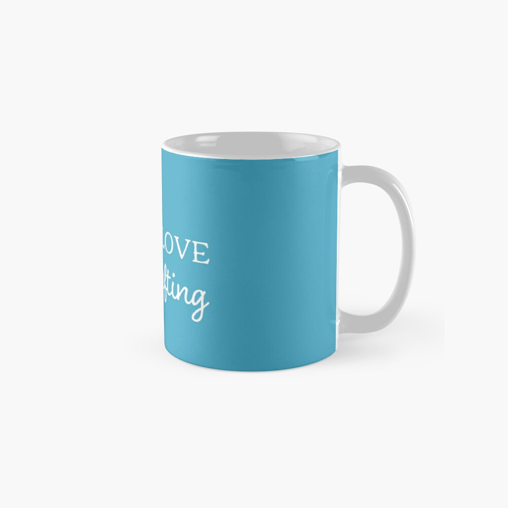 Peace love and crafting slogan t-shirt and decor white on blue Classic Mug