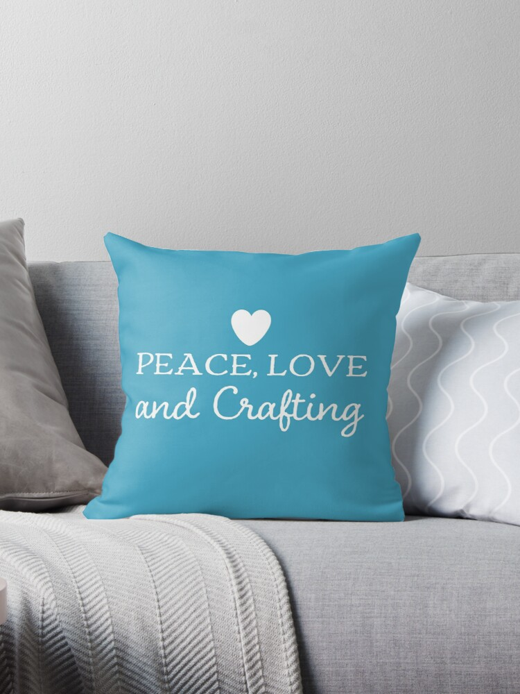 Peace love and crafting slogan t-shirt and decor white on blue by CraftArtist