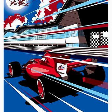 BRITISH: Vintage Grand Prix-Rennsport-Druck von posterbobs