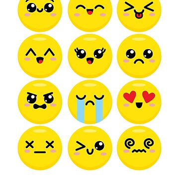 Kawaii Cute Funny Faces Emoticons by DetourShirts
