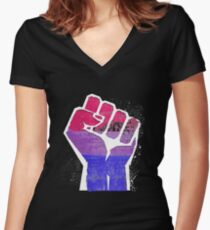 Bisexual Fist Pride Fitted V-Neck T-Shirt