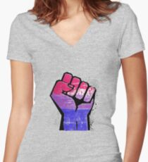 Bisexual Pride Resist Fist Fitted V-Neck T-Shirt