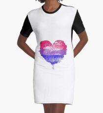Bisexual Pride Heart Graphic T-Shirt Dress