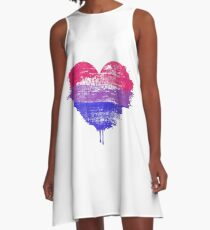 Bisexual Pride Heart A-Line Dress