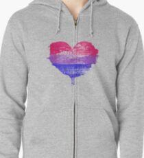 Bisexual Pride Heart Zipped Hoodie