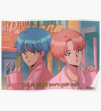 Póster BTS V & JIMIN - Niño con anime luv 90's