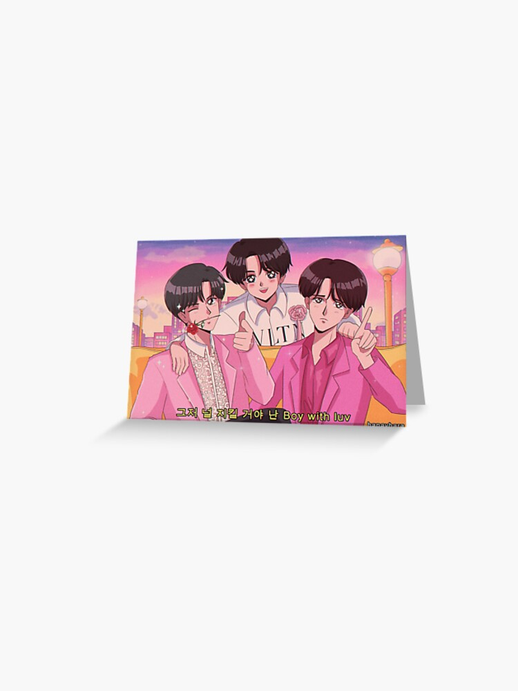 BTS JIN, JHOPE & JUNGKOOK - Boy with luv 90's anime   Greeting Card