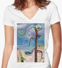 Tree In The Desert Women's Fitted V-Neck T-Shirt