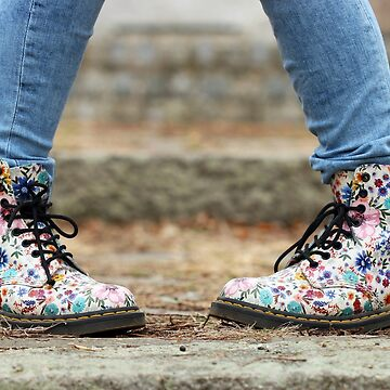 colorful shoes with a flower pattern teenage girl by goceris
