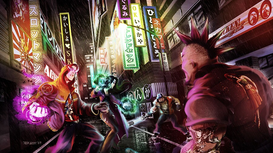 Fight in Nihon Alley by Ted Kim