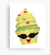 cooles Cupcake Emoticon Leinwanddruck