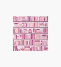 Pink Bookcase Pattern Romance Tea Books Art Board