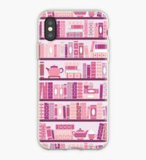 Vinilo o funda para iPhone Estantería rosa patrón romance libros de té