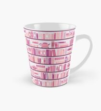 Taza cónica Estantería rosa patrón romance libros de té