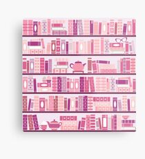 Pink Bookcase Pattern Romance Tea Books Metal Print