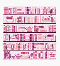 Pink Bookcase Pattern Romance Tea Books Photographic Print