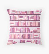 Pink Bookcase Pattern Romance Tea Books Throw Pillow