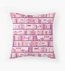 Cojín de suelo Estantería rosa patrón romance libros de té