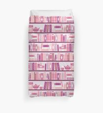 Funda nórdica Estantería rosa patrón romance libros de té