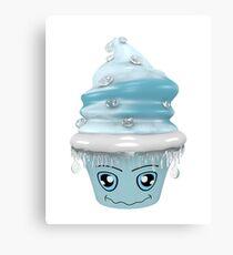frierendes Cupcake Emoticon Leinwanddruck