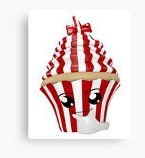 Cupcake Emoticon in Denkerpose Leinwanddruck