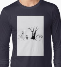Jon and Ghost (Black and White) Long Sleeve T-Shirt