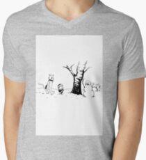Jon and Ghost (Black and White) Mens V-Neck T-Shirt