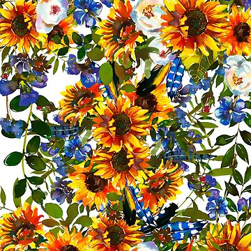 Hand painted yellow orange blue ivory feathers sunflowers by Kicksdesign