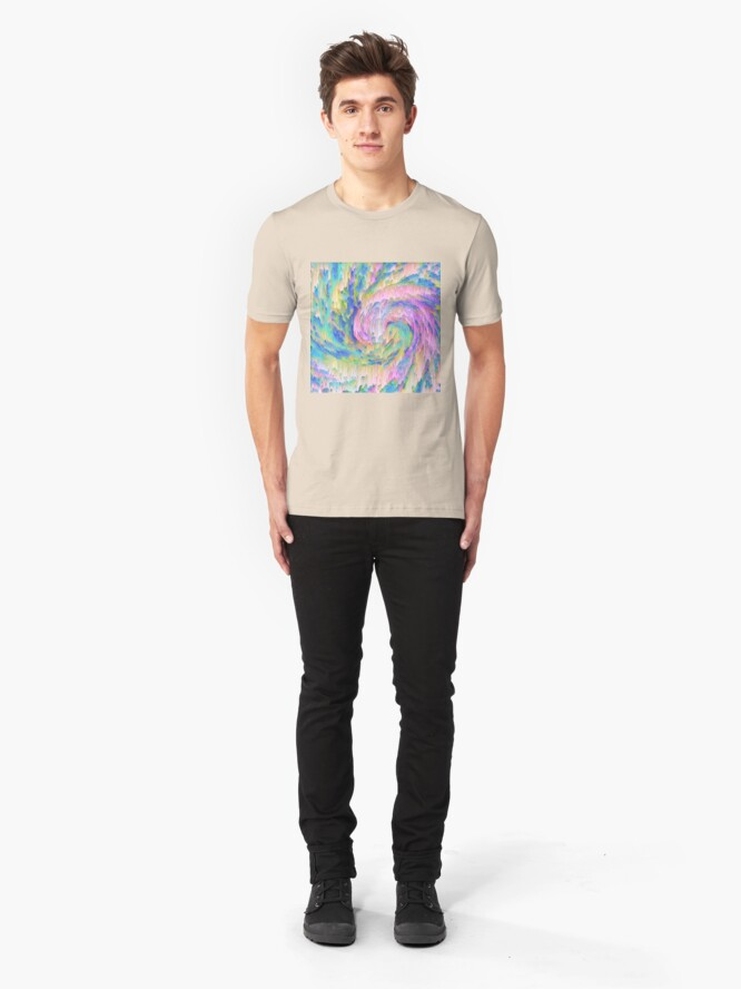 Alternate view of Abstract dripping digital wave Slim Fit T-Shirt
