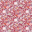Summer Meadow Watercolour Pattern on Red by BinkyMcKee