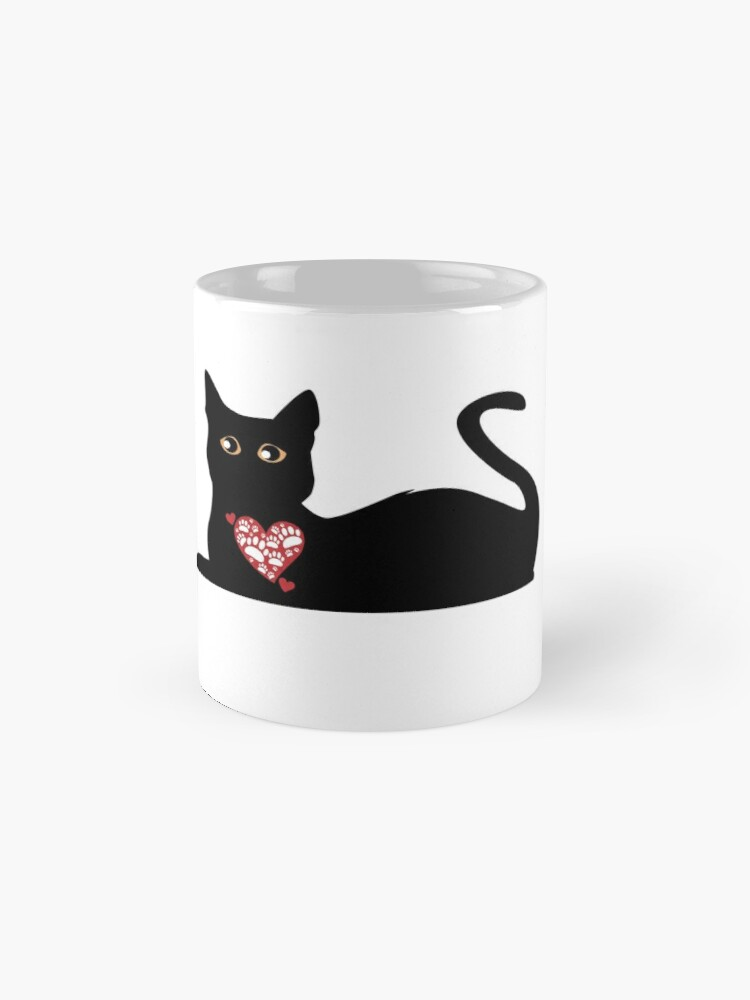 'Black Cat With Heart Coffee Mug: Cute Valentine's Day Gift' Mug by Dogvills