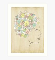 With Dreams of Blooms in her Hair Print Art Print