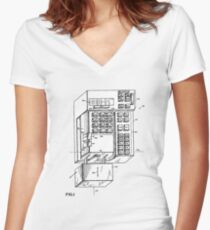 One handed keyboard Women's Fitted V-Neck T-Shirt