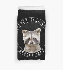 Cute Baby Racoon - Support Your Local Street Cats Duvet Cover