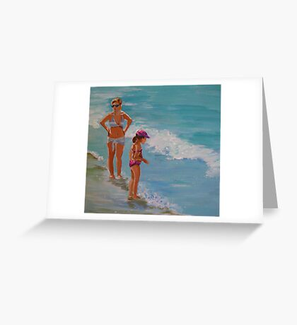 Mother and daughter...by the sea shore Greeting Card