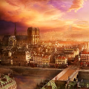 City - Paris France - Notre-Dame Cathedral 1865 by mikesavad