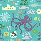 Octopus in the Garden on teal by denisecolgs