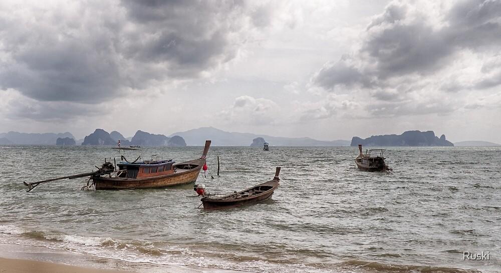 Longtail Boats of Koh Yao Noi by Ruski