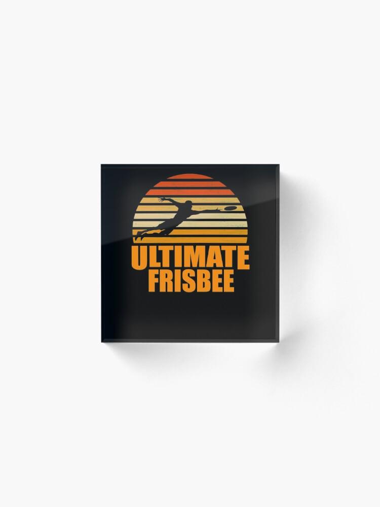 Vista alternativa de Bloque acrílico Retro Ultimate Frisbee Player Silhouette