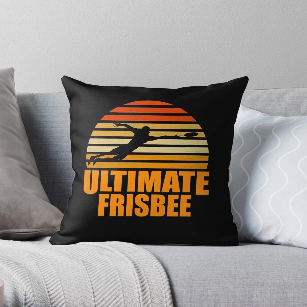 Retro Ultimate Frisbee Player Silhouette Cojín