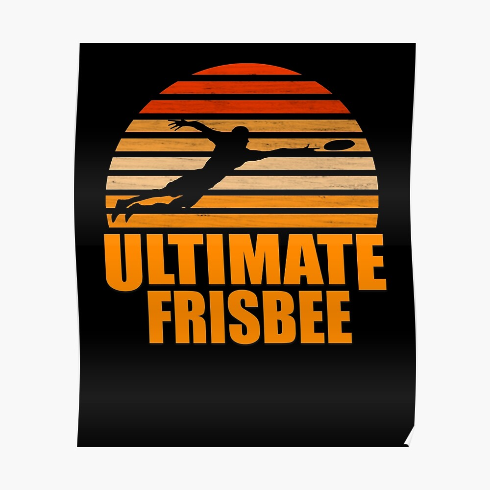 Retro Ultimate Frisbee Player Silhouette Póster