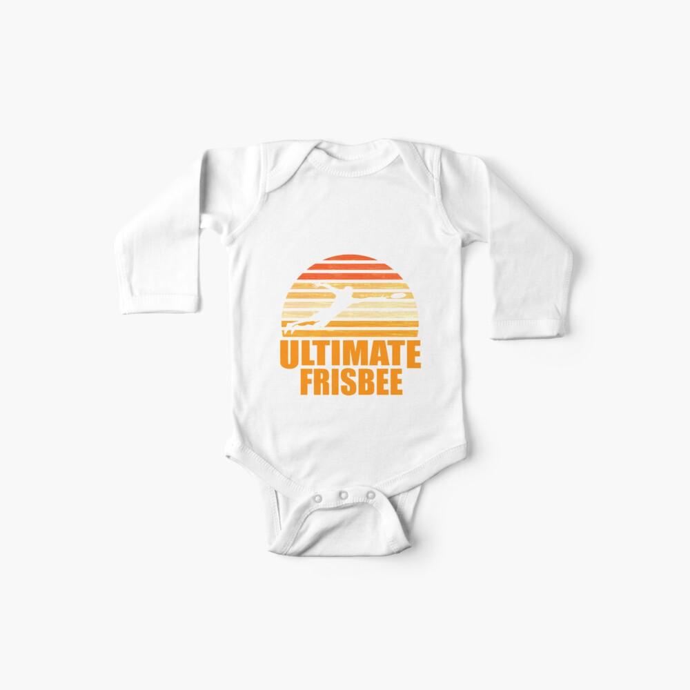 Retro Ultimate Frisbee Player Silhouette Body para bebé