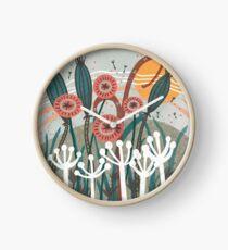 Wiese-Brise-Blumenillustration Uhr