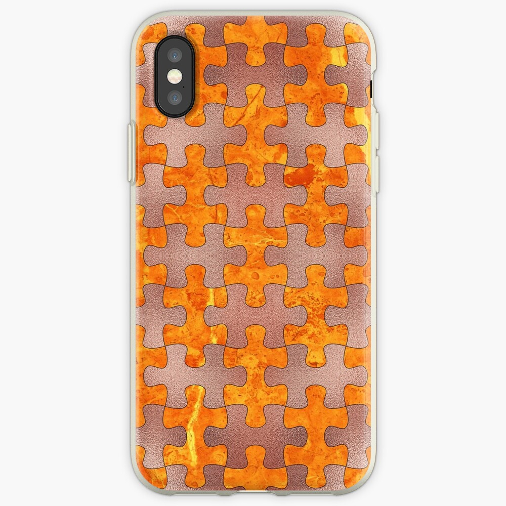 PUZZLE 1 ROSE GOLD ORANGE MARBLE iPhone-Hülle & Cover