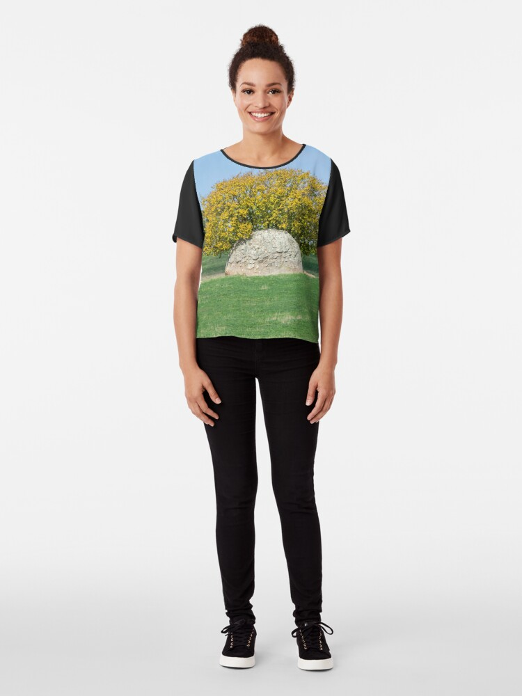 Alternate view of Rock and Tree in Meadow Chiffon Top