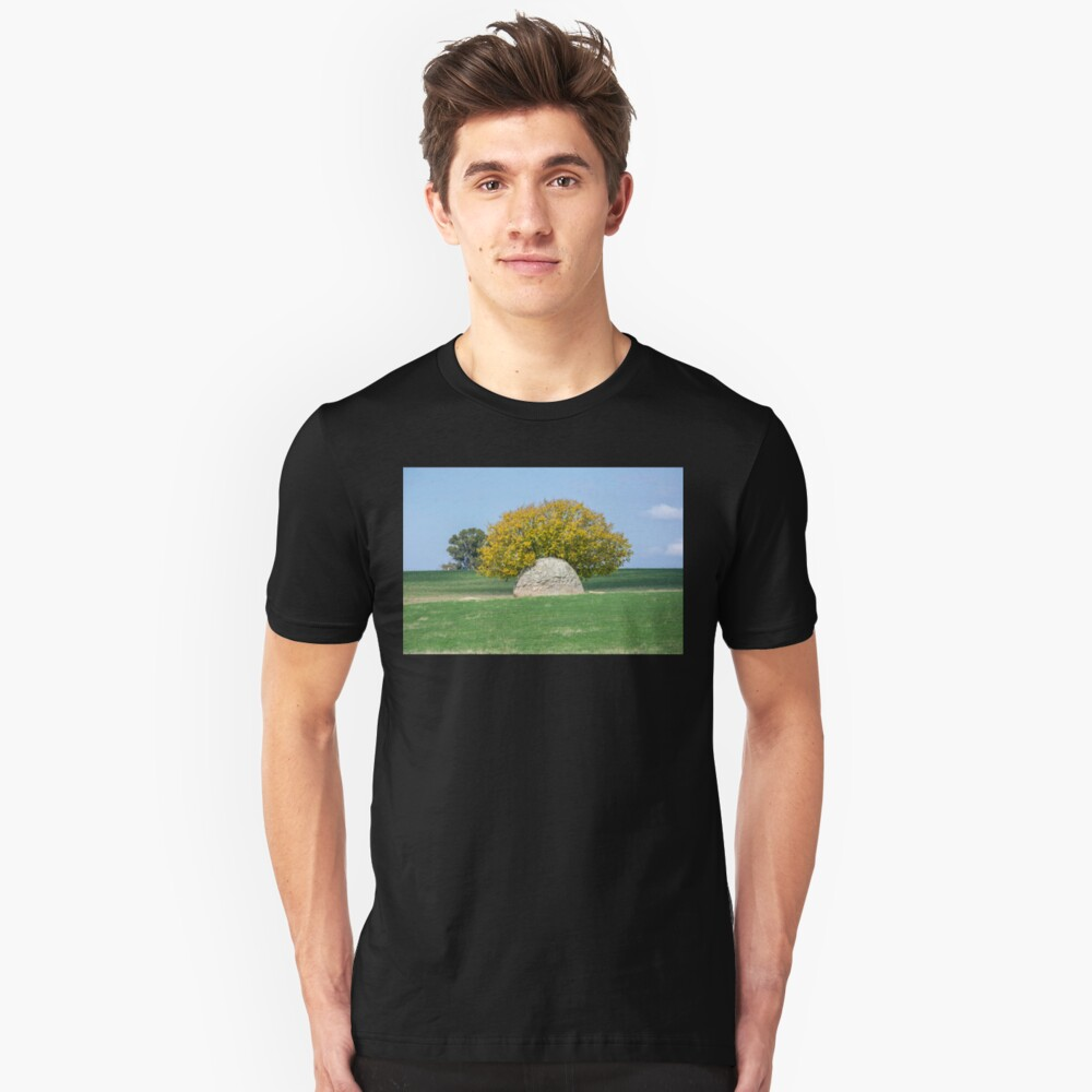 Rock and Tree in Meadow Slim Fit T-Shirt
