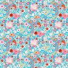 Summer Meadow Watercolour Pattern on Blue by BinkyMcKee