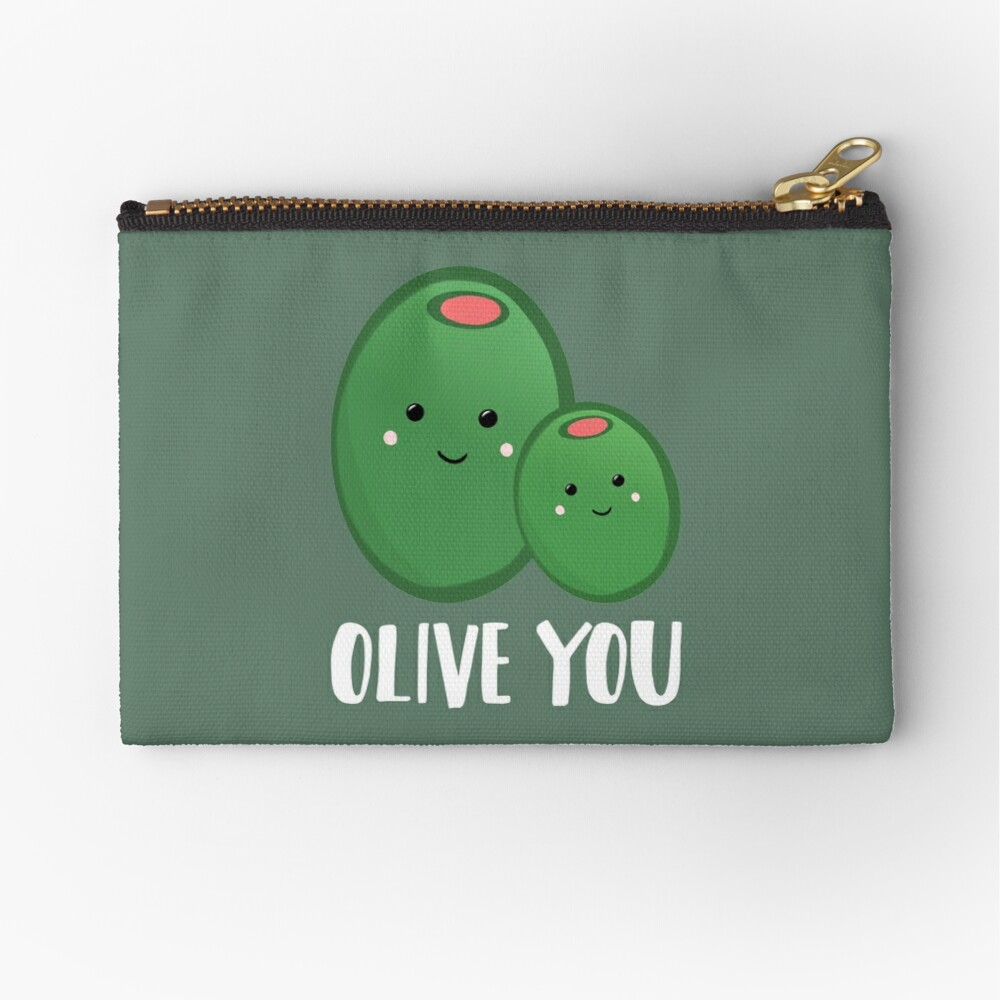 OLIVE YOU - Pun - Funny - Green - Olives Zipper Pouch